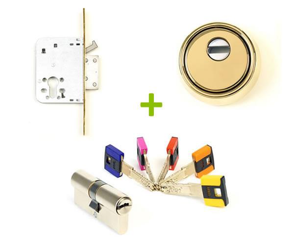 Pack cerradura embutida + bombillo + llaves de seguridad antibumping